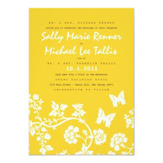 Invitación floral del boda de la mariposa
