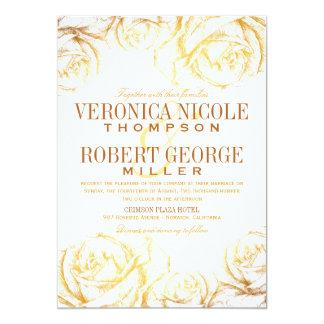 Invitación floral del boda de los rosas románticos invitación 12,7 x 17,8 cm