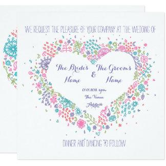 Invitación floral del boda del corazón
