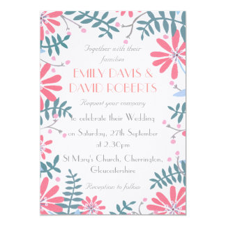 Invitación floral del boda del marco
