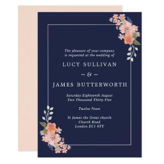 Invitación floral del boda del marco de la marina
