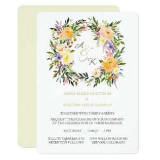 Invitación floral del boda del monograma de la