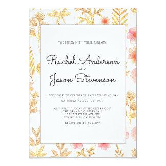 Invitación floral del boda del oro