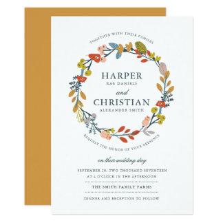 Invitación floral del boda del otoño