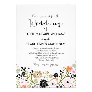 Invitación floral del boda del ramo bonito