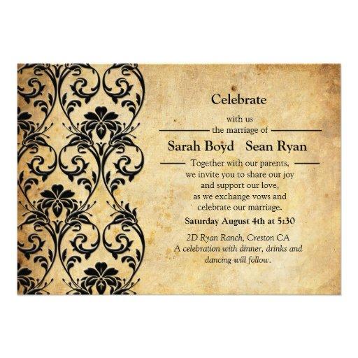 Invitación floral del boda del remolino del vintag