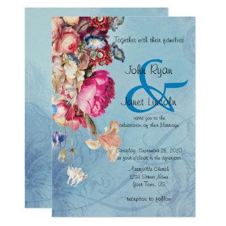 Invitación floral del boda del Victorian hermoso