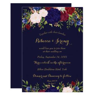invitación floral del boda del vino del marsala de