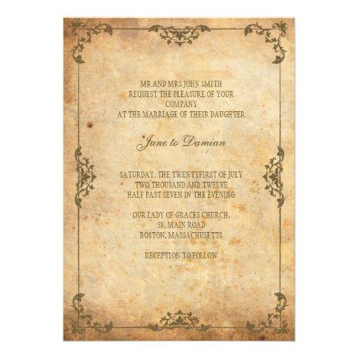 Invitación floral del boda del vintage
