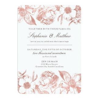 Invitación floral del boda del vintage color de