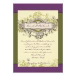 Invitación floral del boda del vintage verde púrpu