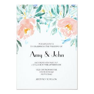 Invitación floral del boda del Watercolour del