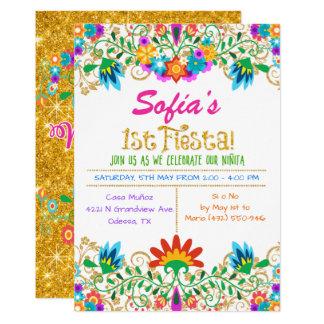 Invitación floral del brillo del primer cumpleaños