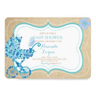 Invitación floral del cochecito de niño de la invitación 12,7 x 17,8 cm