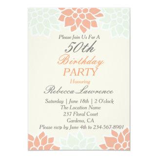 Invitación floral del cumpleaños de la dalia del