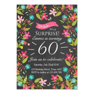 Invitación floral del cumpleaños de la sorpresa