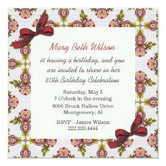 Invitación floral del cumpleaños de las señoras