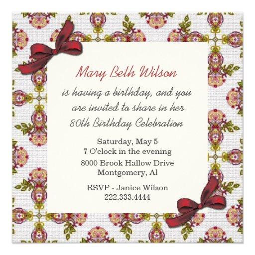 Invitación floral del cumpleaños de las señoras de de Zazzle.
