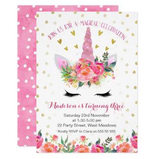 Invitación floral del cumpleaños del unicornio del