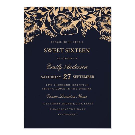 Invitación floral del dulce dieciséis de la marina