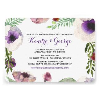 Invitación floral del fiesta de compromiso de la