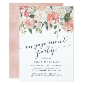 Invitación floral del fiesta de compromiso del
