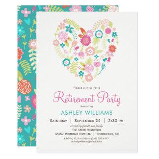Invitación floral del fiesta de retiro del corazón