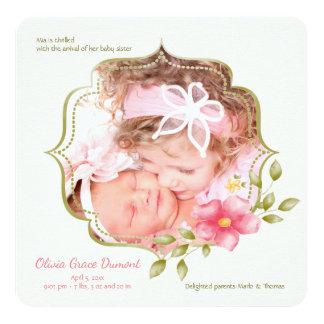 Invitación floral del nacimiento de la foto de la
