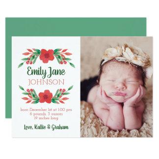 Tarjeta Invitación floral del nacimiento de la foto del