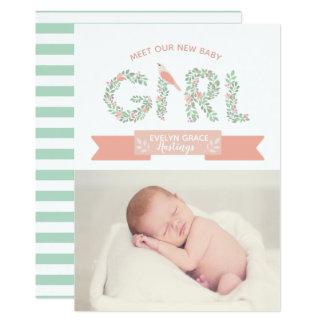 Invitación floral del nacimiento de la niña el |