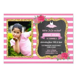 Invitación floral del rosa del brillo del oro del