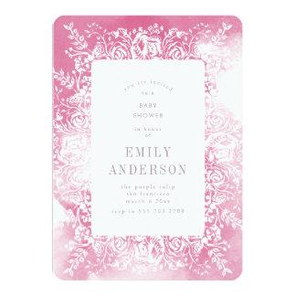 Invitación floral del rosa y blanca de la fiesta