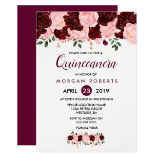 Invitación floral del rosa y de Borgoña