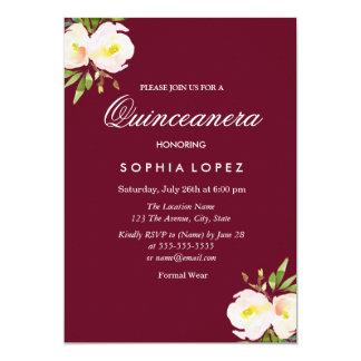 Invitación floral elegante de Borgoña Quinceanera