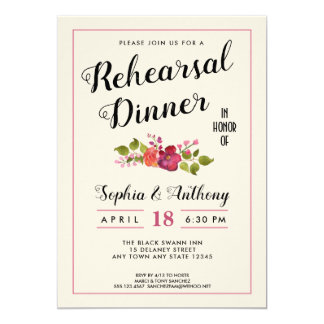 Invitación floral elegante de la cena del ensayo