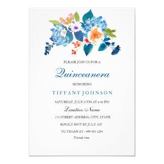 Invitación floral elegante de Quinceanera del azul