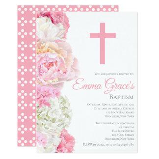 Invitación floral elegante del bautizo del