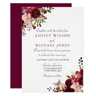 Invitación floral elegante del boda de Borgoña