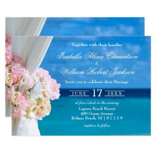 Invitación floral elegante del boda de playa del