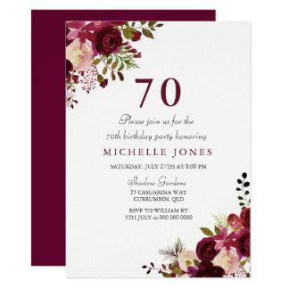 Invitación floral elegante del cumpleaños de