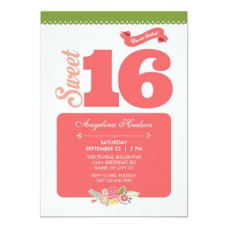 Invitación floral elegante del dulce 16