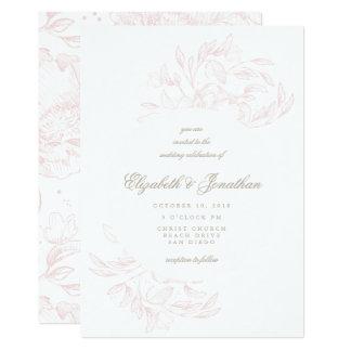 Invitación floral elegante romántica del boda del