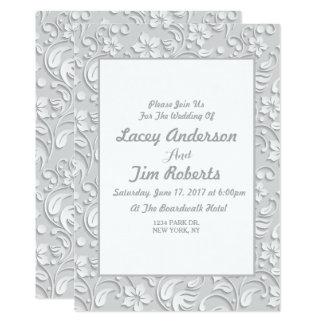 Invitación floral gris del boda del vintage