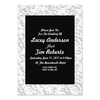 Invitación floral gris y blanca del boda del