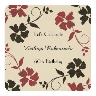 Invitación floral hermosa y terrosa del cumpleaños
