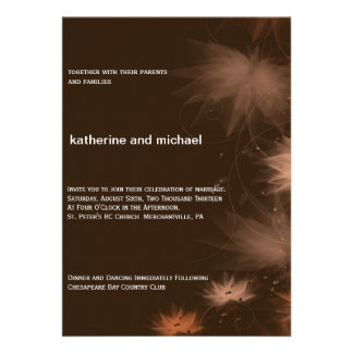 Invitación floral minimalista del boda de la caída