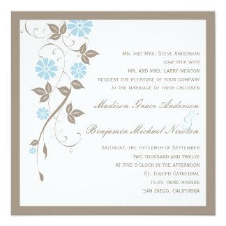 Invitación floral moderna del boda - aguamarina invitación 13,3 cm x 13,3cm