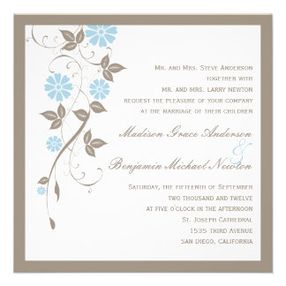 Invitación floral moderna del boda - aguamarina az