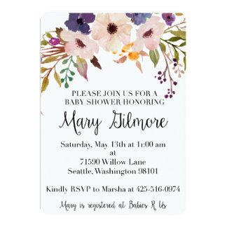 Invitación floral púrpura de la fiesta de