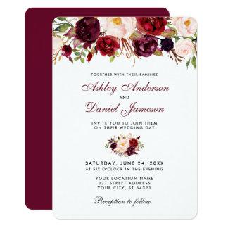 Invitación floral R del boda de Borgoña de la